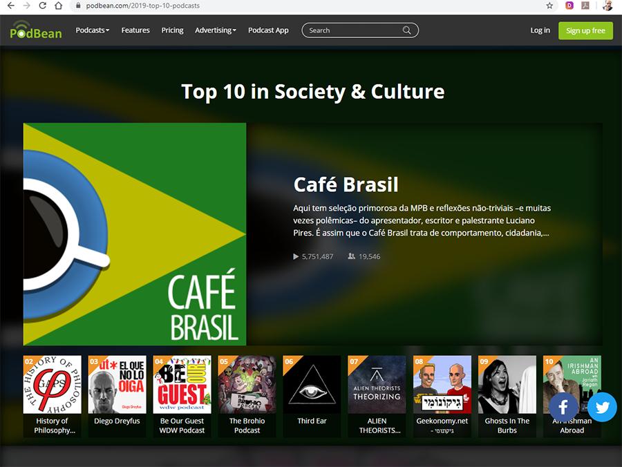 Café Brasil no Top 10 Podbean